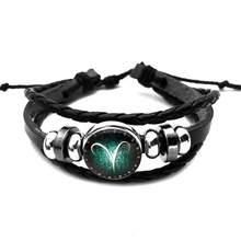 12 constelações luminosas pulseira de couro signo do zodíaco com grânulos charme trançado pulseiras punk para meninos masculino jóias acessórios(China)