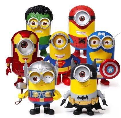 8pcs/set 20cm 2015 New Despicable Me 3 minion kids toys pvc figure 3d eyes minion cos super heros Iron man Spriderman Hulk Thor(China (Mainland))