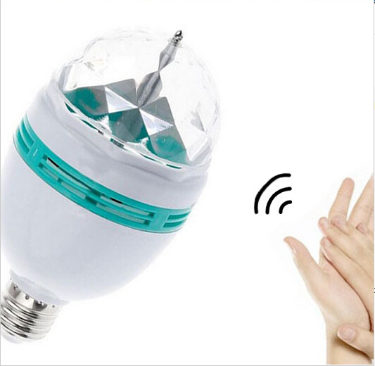 3W E27 base rotate LED bulb offers RGB colorful light, makes your home as KTV stage lighting, and it's with sound sensor(China (Mainland))