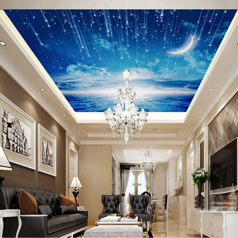 Free Shipping Blue sky wallpaper mural ceiling living room bedroom large roof decoration room wallpaper(China (Mainland))