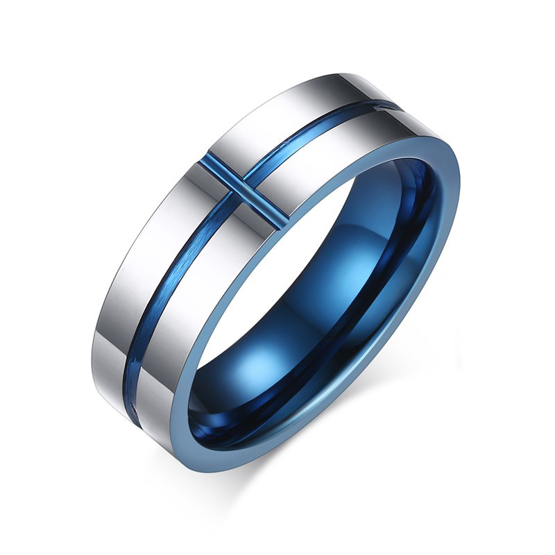 Top Quality Tungsten Steel Groove Cross Blue Finger Rings For Men Women Boutique Jewelry(China (Mainland))