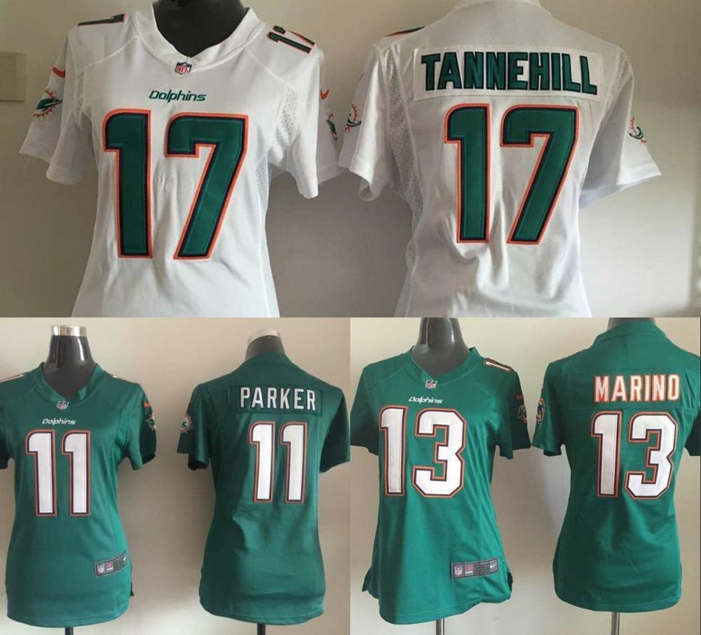 100% stitched women Miami Dolphins ladies 17 Ryan Tannehill 11 DeVante Parker 13 Dan Marino Embroidery Logos size S to XXL(China (Mainland))
