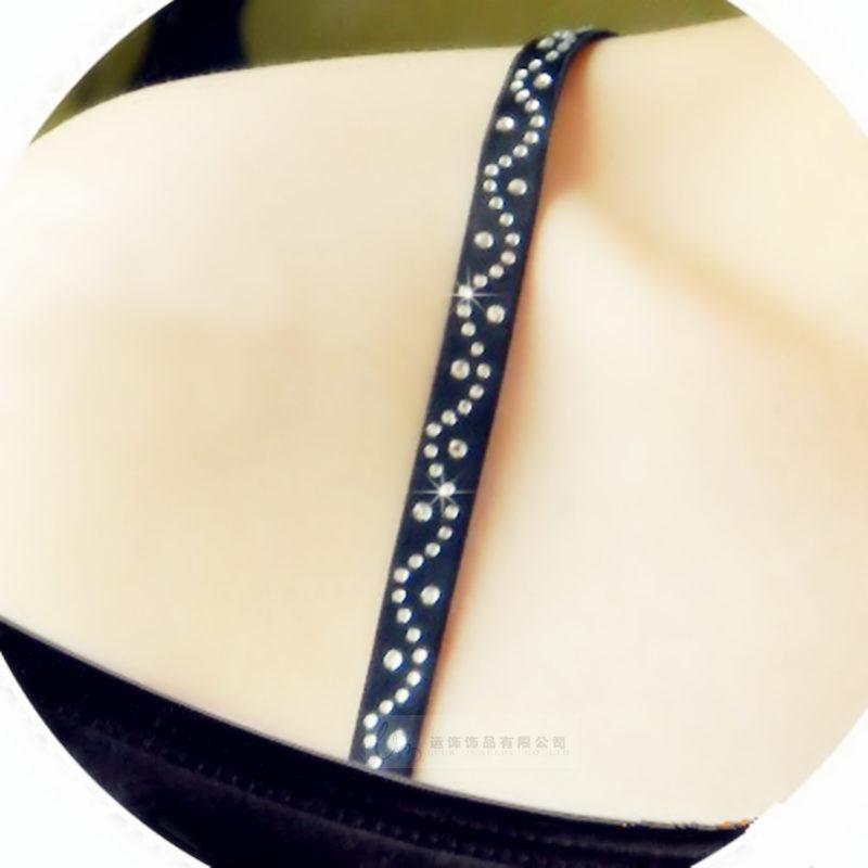 New Hot Fashion Women Sexy Underwear S-shape Rhinestone Black Bra Shoulder Cross Shoulder Straps Free Shipping(China (Mainland))