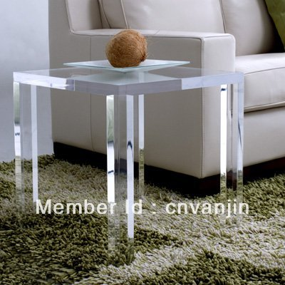 Crystal Acrylic Lucite Occasional Side Tea Table,Plexiglass End Corner Sofa  Tables   45W45D45H CM Part 12