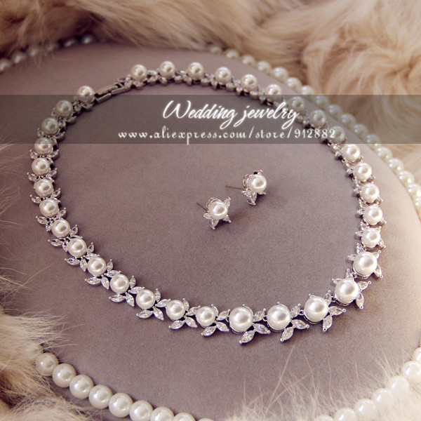 Free Shipping 2014 Stunning Sparkling AAA CZ Prong Set Pearl White Gold Plated Wedding Bridal Prom Party Large Jewelry Set