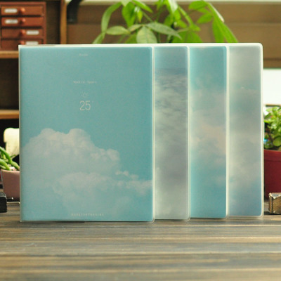 MOMO Notebook [Our Story Begins] Over The Clouds Plastic Cover Notebook Horizontal Blank A5 32K A5J25 Notepad<br><br>Aliexpress