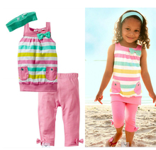 NEW 2015 cotton casual children girls summer clothing set toddler suits tank with pants and headband