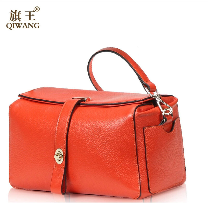 Top quality genuine leather bag QIWANG famous brands fashion women Shoulder messenger Bag Orange boston bag(China (Mainland))