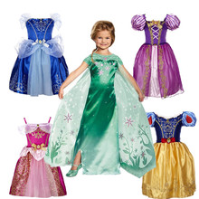 2016 Top Quality Toddler Baby Girls Clothes Princess Party Cosplay Costume snow queen  Elsa Dress For Girls Kids Dress For Girl