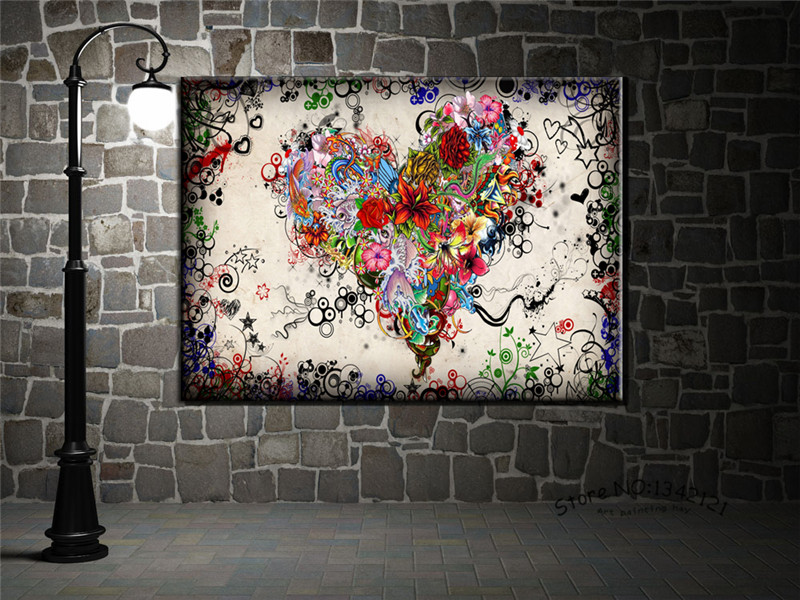 New Modern wall art heart flowers Painting On Canvas Canvas Prints Painting Pictures Decor For Living Room(China (Mainland))
