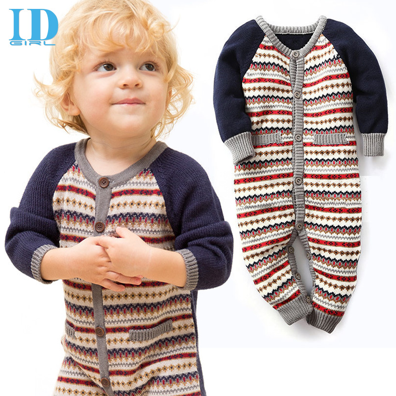 IDGIRL Baby Boy Clothes Knitting Baby Rompers Winter Christmas Thicken Hooded Warm Baby Girl Clothes Roupas Bebe JY0291(China (Mainland))
