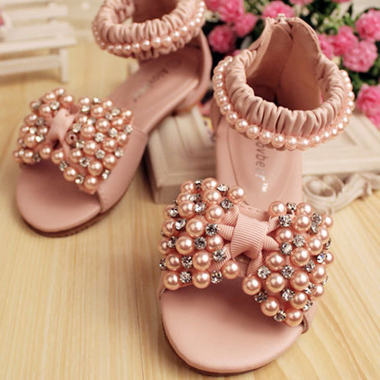 2015 Nobleness Summer Sandals Perfect Pearl Ornament Shoe Girl The Non-Slip Soles Sandal Child Shoes<br><br>Aliexpress