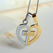 heart lock design fashion stainless steel 18K gold plated couple necklace pendant 74 cm free long chain for girl and boy jewelry
