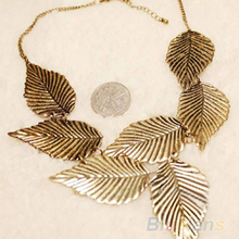 Trendy Women Bohemia Leaves Leaf Multilayer Pendant Chain Bib Choker Necklace Jewelry 04KG
