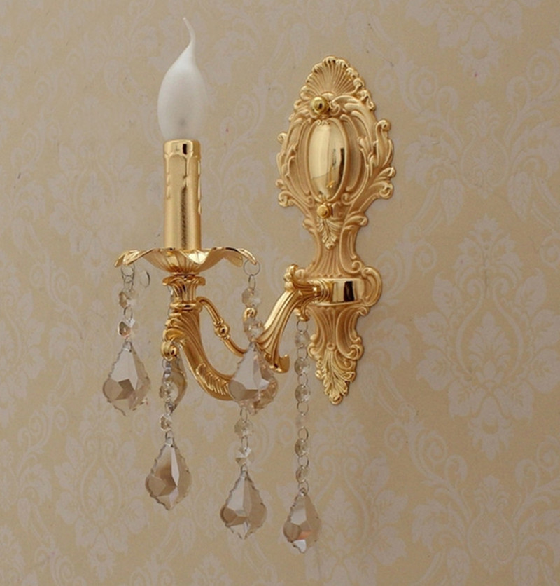 Antique Bedroom Wall Sconces : Aliexpress.com : Buy 1 pcs modern Gold crystal Wall lamp abajur vintage led wall Sconce lighting ...