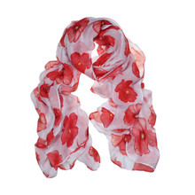 Newly Design Fashion Red Poppy Scarf Print Long Scarves Flower Beach Wrap Ladies Stole Shawl July31(China (Mainland))