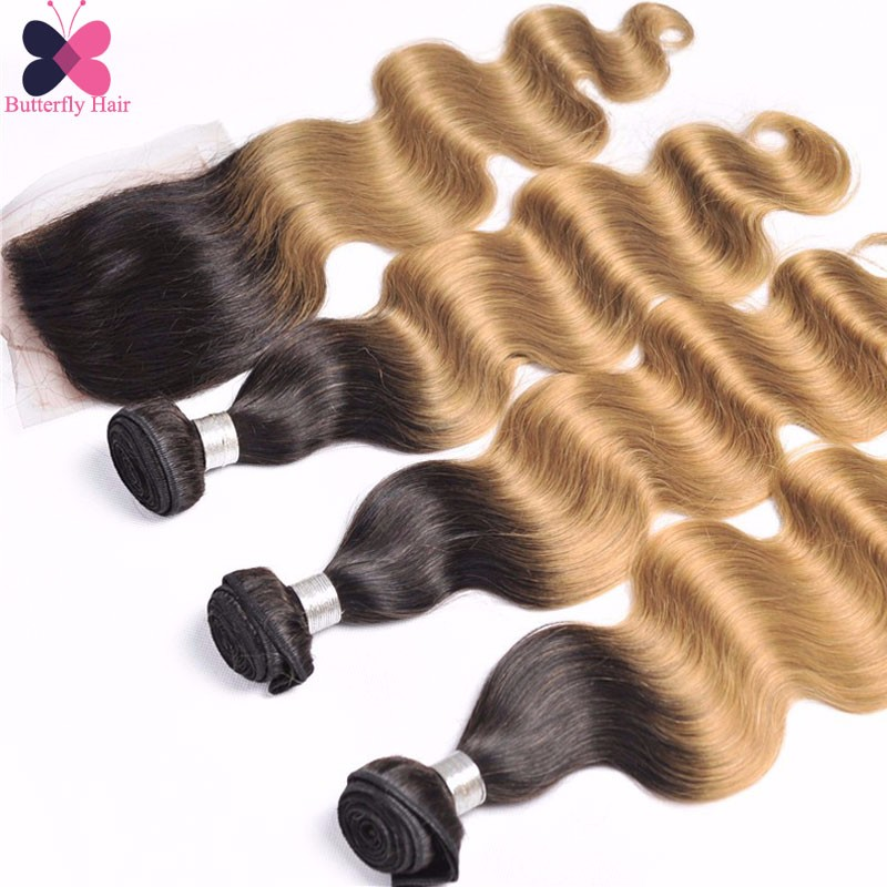 10A Ombre Brazilian Hair With Closure Body Wave 3 Bundles Ombre Virgin Hair Wet And Wavy Virgin Brazilian Hair With Closures