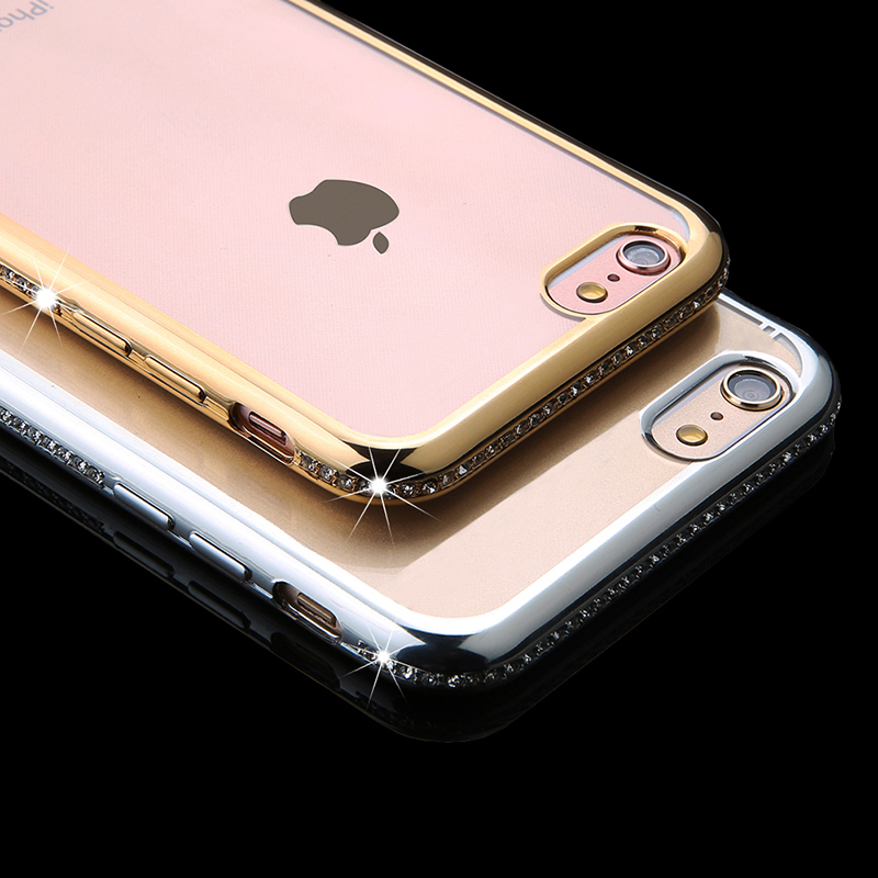 Luxury Glitter Bling Diamond Crystal Rhinestone Frame Soft TPU transparent Clear Back Cover Case Iphone 6 6s 6plus 7 7 Plus