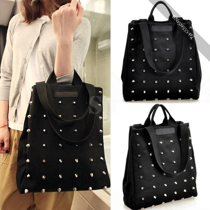 New Women's Black Rivet Canvas Retro Handbag Fashion Bag Tote Shoulder Bag(China (Mainland))