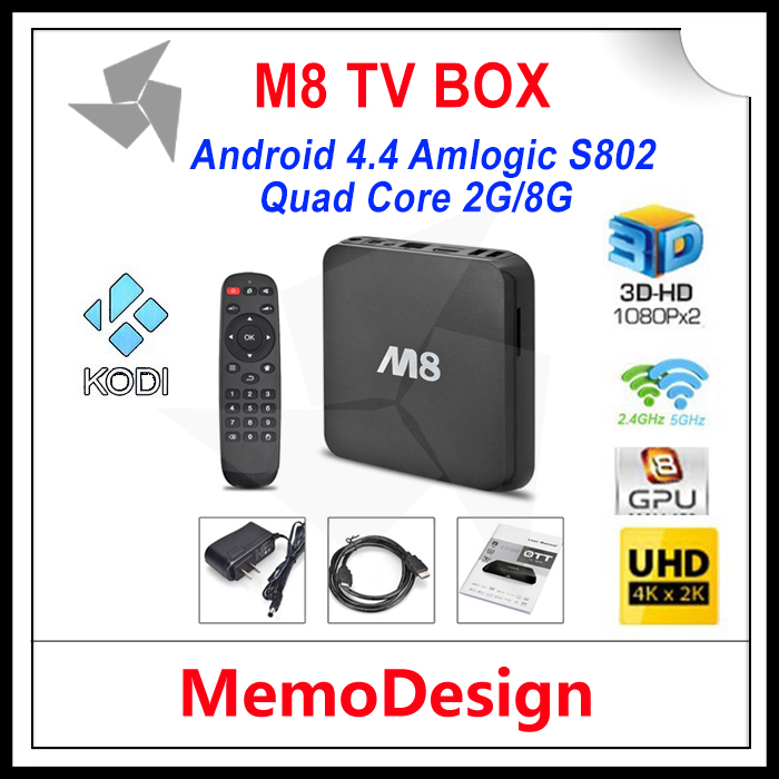 Original M8 Amlogic S802 Android TV Box M8N Quad Core 2G/8G Mali450 XBMC GPU 4K HDMI 2.4G/5G Dual WiFi Pre-installed APK ADD ONS(China (Mainland))