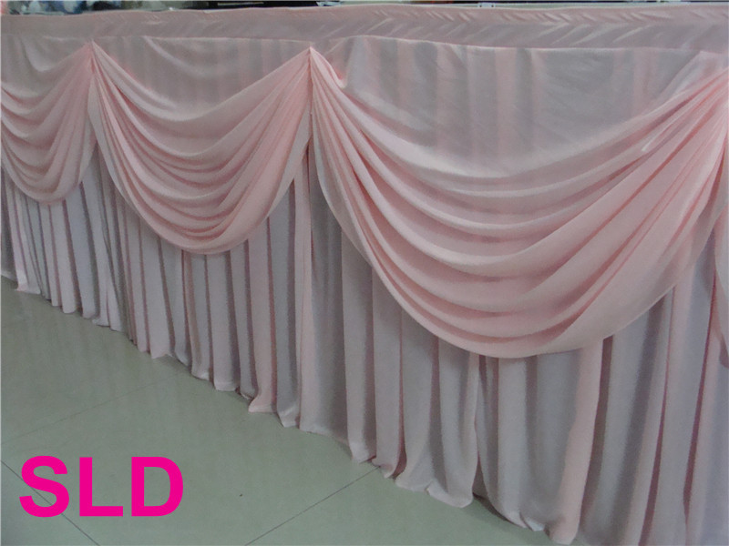 5pcs lot 13ft 29inch pink silk banquet table skirting