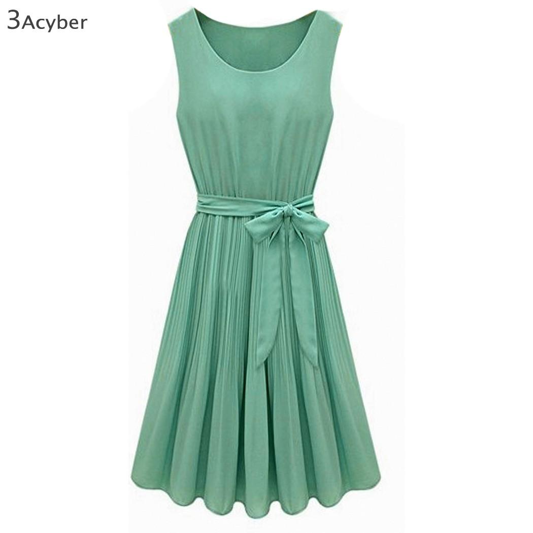 Promotions! Woman Fashion Summer Chiffon Dress Elegant Sleeveless 34 - Shenzhen Cyber Technology Ltd. store