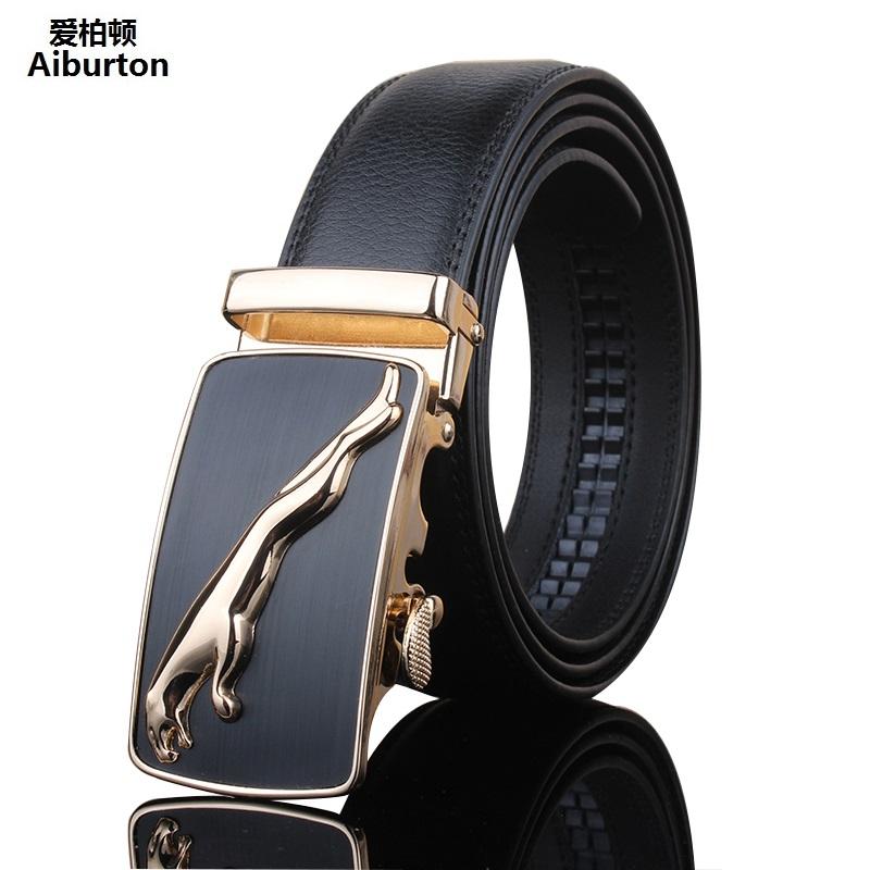 Trending cowskin designer belts men hgih quality Jaguar Embellished Metal Automatic Buckle Black Wide male belt golden silver(China (Mainland))