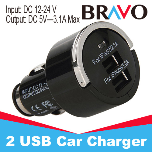 Free shipping High Quality Universal Smart Fuse Circuit-Breaker Protection Dual USB Port 5V 3.1A Car Charger(China (Mainland))