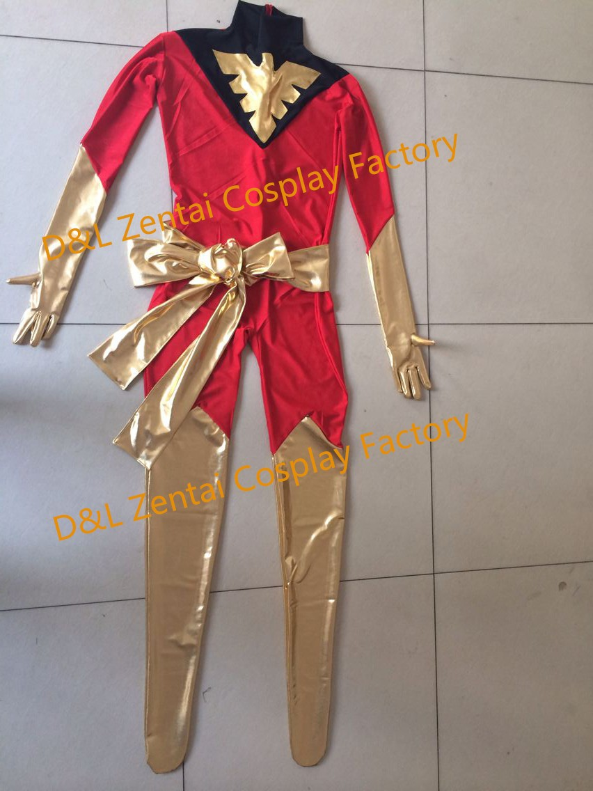 Free Shipping DHL Wholesale Amazing X-Men Red And White Phoenix Superhero Zentai Catsuit Costume For Woman Halloween Costume