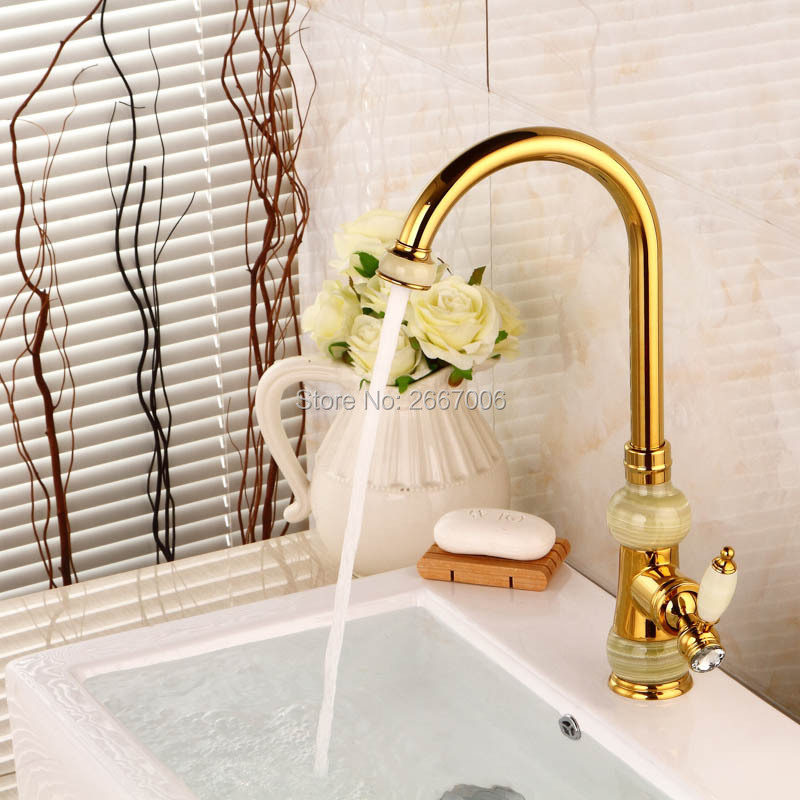 Free Shipping Design European marble faucet waterfall bathroom faucet gold copper classical water faucet Kitchen Mixer Tap ZR820(China (Mainland))