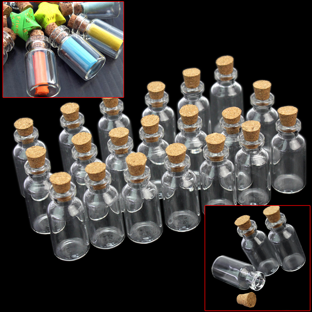 20pcs Mini Clear Transparent Messages Wishing Glass Bottle with Cork Message Notes Beads Seeds Various Crafts Bottle Container(China (Mainland))