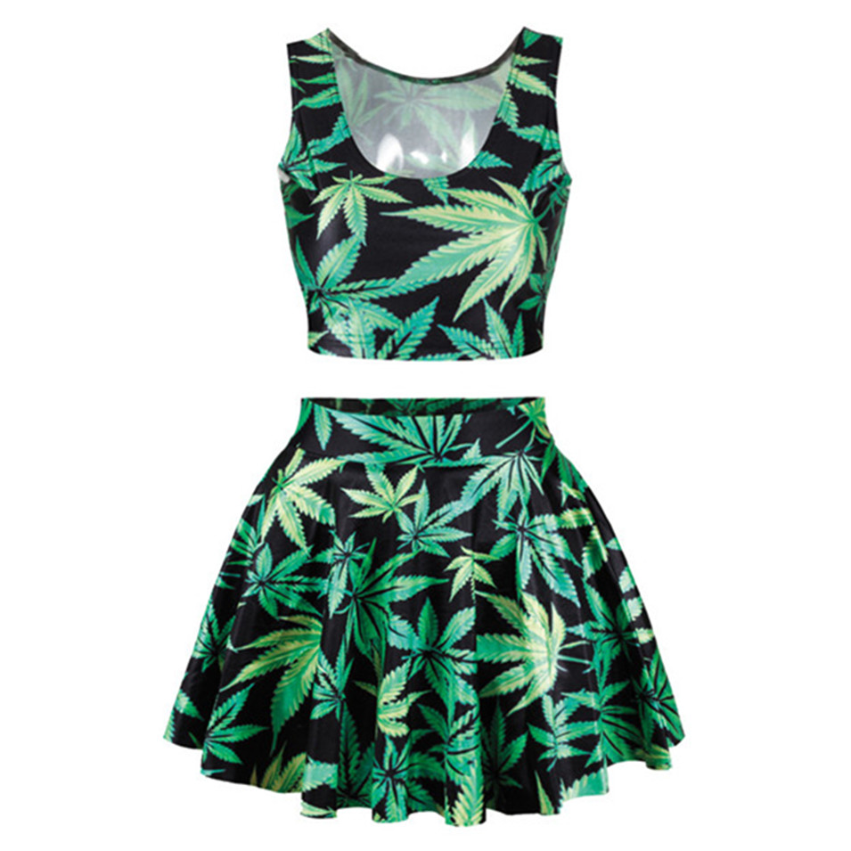2016 summer new green color clothes womens leaf skirt