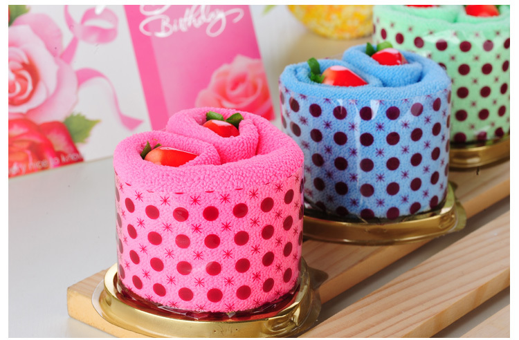 Free Shipping(6pcs/lot),Creative gift, Strawberry Cake Towel, Available Holiday Gifts, Promotional Gifts, Wedding Gifts(China (Mainland))