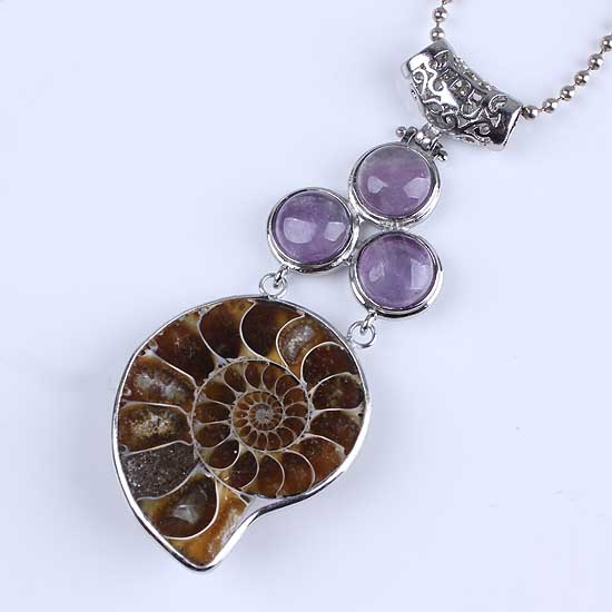 wholesale 5pcs The collection Charm The high quality Natural Ammonite Fossil amethyst Pendant Beads Pendant Jewelry(China (Mainland))