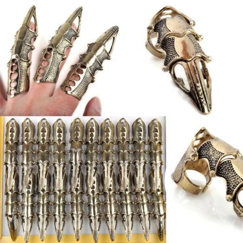 5Pcs/Lot Gothic Punk Full Finger Armor Rings Hinged Knuckle Claw Bulks for party club jewelry Wholesale Unisex Rings(China (Mainland))