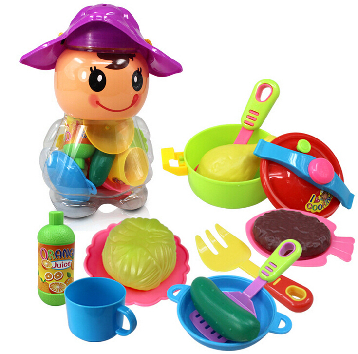 17pcs/lot DIY Pretend Kitchen Toy Kitchen Ware Set Kids Baby Early Educational Classic Plastic Canned Toys Kitchen Set Toys(China (Mainland))