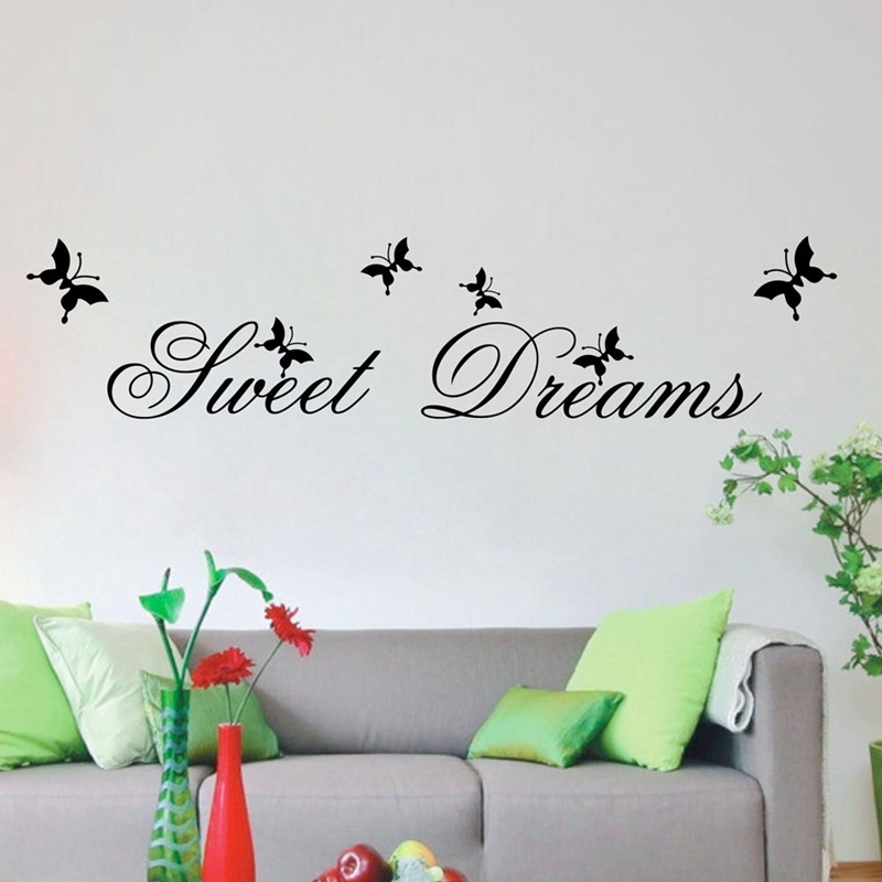 Hot Sell Sweet Dream Quotes Wall Stickers Bedroom Home Decorations Living Bedroom Diy Decals Mural Arts Printing Poster Paper(China (Mainland))