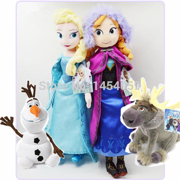 Snow Queen princess Anna and Elsa dolls Plush toys Brinquedos Sven Olaf best toy for kids children elsa anna(China (Mainland))