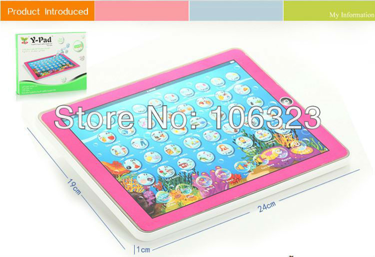 Wholesale,New arrial, Y - Pad English + Arabic Learning Toys, Kid Touch Tablet Computer, Baby Educational,Letter/Word/Number etc(China (Mainland))