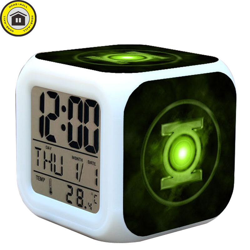 USB Charge+2*AG13 Battery Green Lantern LED reloj despertador Kids LED 7 Color Flash Digital Alarm Clock Watches In Gift Box(China (Mainland))