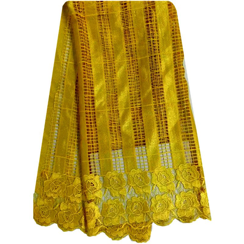 Yellow Color African lace fabric embroidery high quality clothes african guipure lace fabric.Best selling african cord lace(China (Mainland))