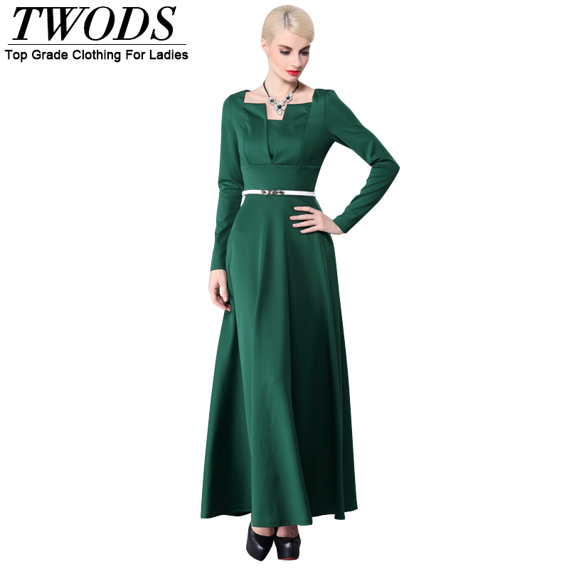 Twods 2015 new women summer dress solid green long sleeve ladies elegant maxi dresses females evening party dress S-XXXL