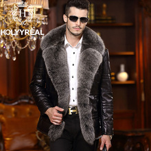 Brand New Men's Fashion Genuine Sheepskin Down Leather Coat With Huge Natural Silver Fox Fur Collar Real Leather Jacket Winter(China (Mainland))