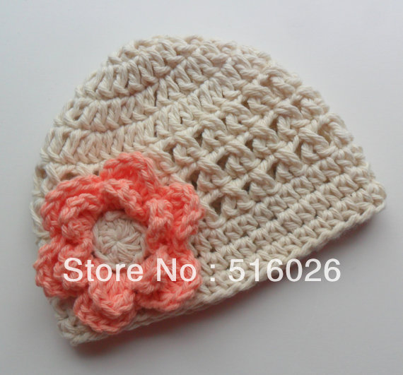 Crochet baby Hat, Girls Cotton Beanie Hat, Ecru and Coral, MADE TO ORDER 10pcs/lot