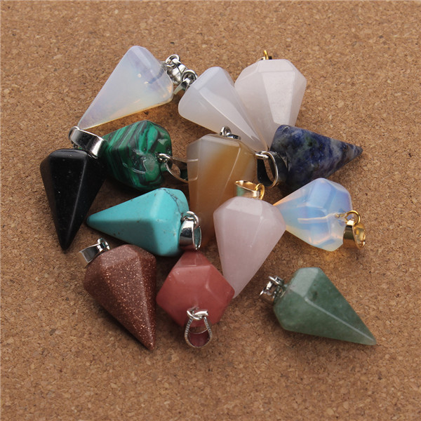 5pc/lot Natural Stone Pendant Turquoise Opal Agate Citrine Quartz CrystalJewelry Charms for DIY Necklace Craft Bracelet(China (Mainland))