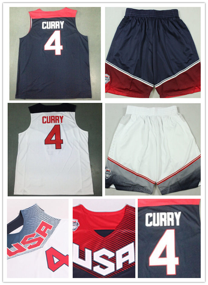 Steph Curry Dream USA Jersey,2014 Basketball World Cup USA Dream Team 4 Stephen Curry 5 Kevin Durant 13 Harden Jersey shorts(China (Mainland))
