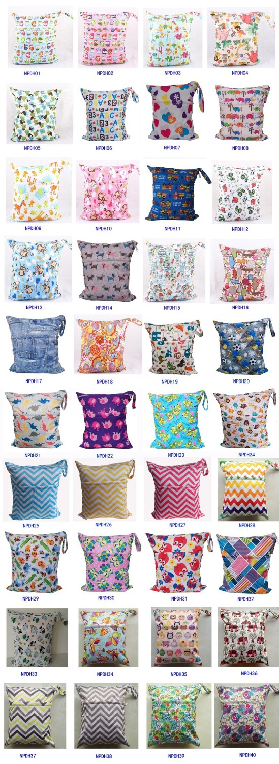 10Pc Retail Sample colorful Printing Diaper Double Zippered Reusable Waterproof baby Cloth Diaper Wet Dry Bag 40styles(China (Mainland))