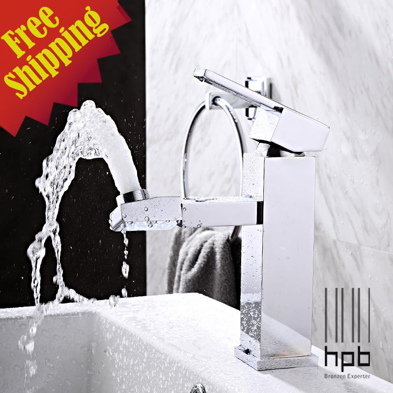 HPB 360 Rotatable Brass Chrome Hot and Cold Water Basin Mixer Sink Bathroom Faucet Tap torneira para banheiro HP3019(China (Mainland))