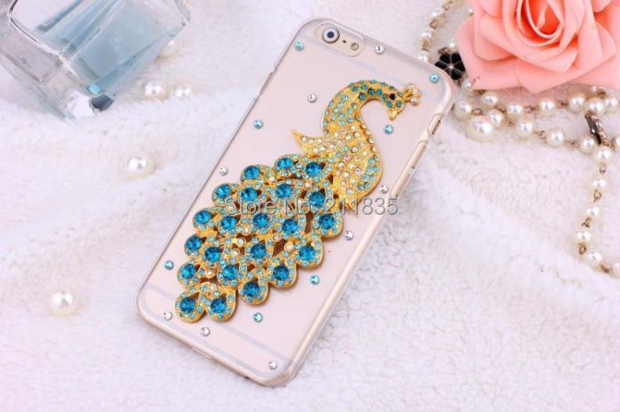 Handmade Rhinestone Jewelry Diamond Transparent Ballet Girl Peacock Flower Case For iPhone 6 Plus 5.5'' Promotions Simple Cover(China (Mainland))