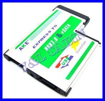 Hidden Inside USB 3.0 USB3.0 + eSATA II 2.0 Combo to Express Card ExpressCard 54 54mm Adapter Converter, Free Shipping,Brand New